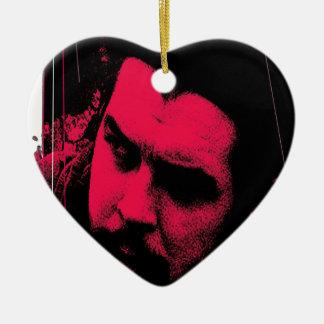 che adorno navideño de cerámica en forma de corazón