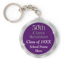 Cheap 50th Class Reunion Gift, Your Text and Color Keychain