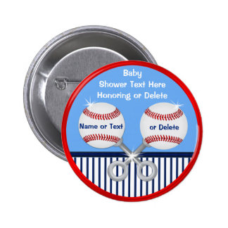 Cheap Baseball Baby Shower Favors, 3 Text Boxes Pinback Button