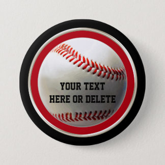 Cheap Baseball Party Favors, YOUR TEXT or Delete Pinback Button