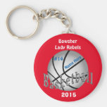 Cheap Basketball Keychains, 4 Text Boxes YOUR TEXT Keychain