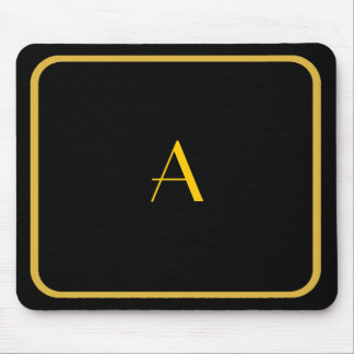Cheap Black Mousepad w/ Gold Frame & Monogram