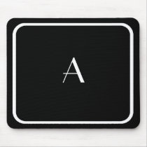 Cheap Black Mousepad w/ White Monogram & Frame