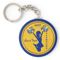 Cheap Blue and Gold Cheer Gifts for Cheer Favors Keychain