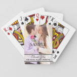 "Cheap Bridal or Wedding Party Gifts Playing Cards<br><div class=""desc"">If you are looking for bridal or wedding party gifts ideas, these playing cards are the perfect inexpensive way to say thank you to your wedding party. The playing cards feature your photo with the words &quot;Thank You for being in our wedding&quot; right below. A great unique gift which your...</div>"