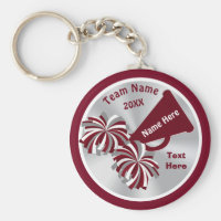 Cheap Cheerleader Gifts Personalized in Your COLOR Keychain