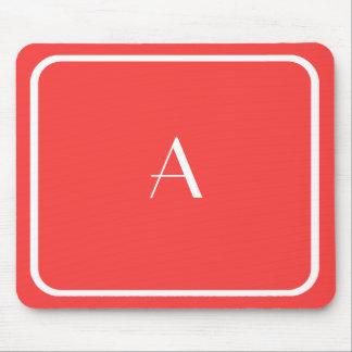 Cheap Coral Red Mousepad w/ White Monogram
