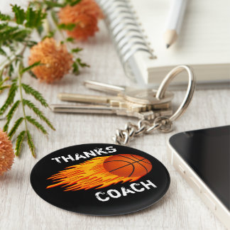 Cheap Customizable Coach Gift Ideas Basketball Basic Round Button Keychain