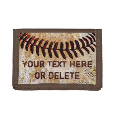Cheap Faux Vintage Personalized Baseball Wallet at Zazzle