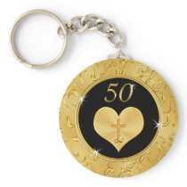 Cheap Gorgeous Christian 50th Anniversary Favors Keychain