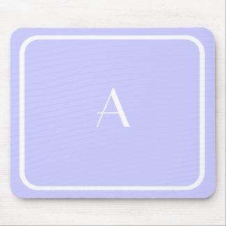Cheap Lavender Blue Lilac Color and White Monogram Mouse Pad