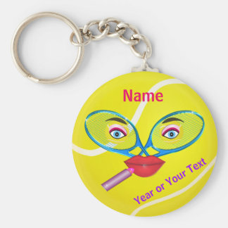 Cheap PERSONALIZED Tennis Keychains, Womens TEAM Basic Round Button Keychain