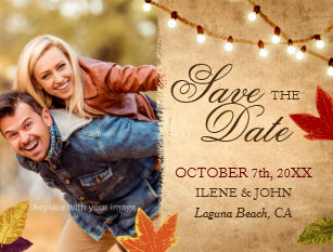 autumn save the date postcards zazzle
