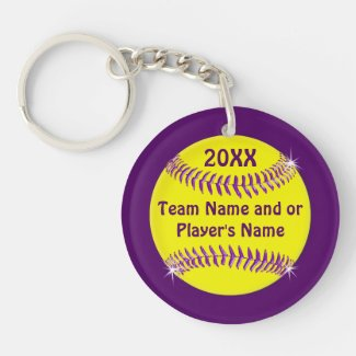 Cheap Softball Gift Ideas Your COLORS and 2 TEXT Double-Sided Round Acrylic Keychain