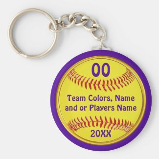 Cheap Softball Gift Ideas, Your Text and Colors Keychain