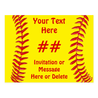 Cheap Softball Party Invitations PERSONALIZED Postcard