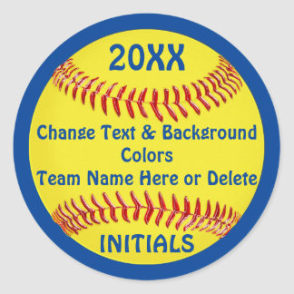 Cheap Softball Stickers with Your COLORS and TEXT