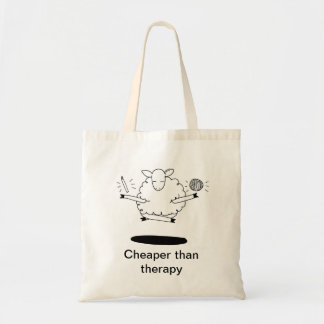Cheaper than therapy budget tote bag