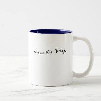 Cheaper Than Therapy Tshirts, Mugs, Buttons Two-Tone Coffee Mug