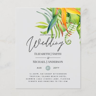 Cheapest Tropical Leaves Wedding Luau Reception