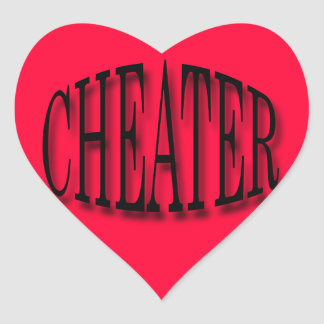Cheater black heart sticker