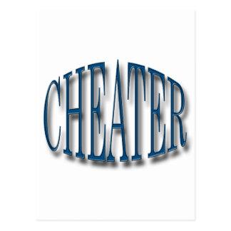 Cheater blue postcard