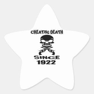 Cheating Death Since 1922 Birthday Designs Star Sticker