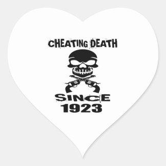 Cheating Death Since 1923 Birthday Designs Heart Sticker