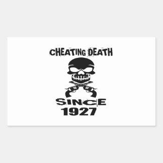 Cheating Death Since 1927 Birthday Designs Rectangular Sticker