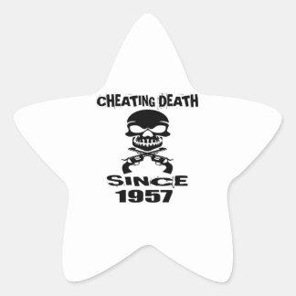Cheating Death Since 1957 Birthday Designs Star Sticker