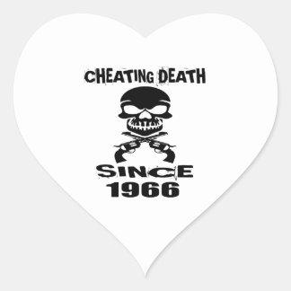 Cheating Death Since 1966 Birthday Designs Heart Sticker