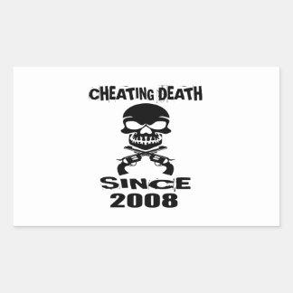 Cheating Death Since 2008 Birthday Designs Rectangular Sticker