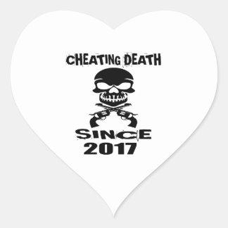 Cheating Death Since 2017 Birthday Designs Heart Sticker