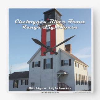 Cheboygan River Front Range Lighthouse Wall Clock