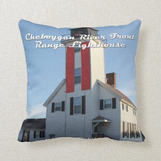 Cheboygan River Lighthouse Throw Pillow