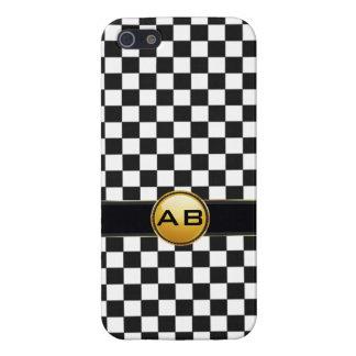 check black white initial monogram iphone 5 case