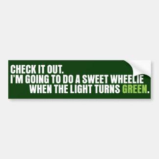 Check it out - Wheelie Car Bumper Sticker