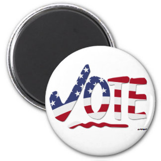 Check Mark VOTE with US Flag 2 Inch Round Magnet