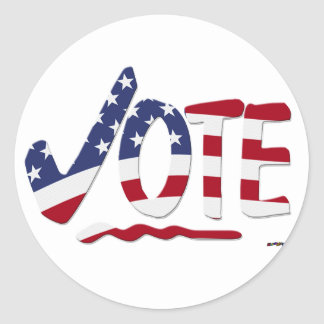 Check Mark VOTE with US Flag Classic Round Sticker
