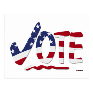 Check Mark VOTE with US Flag Postcard