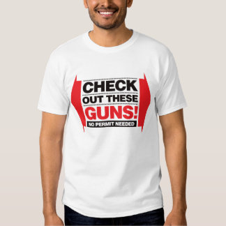 Check Out These Guns - Red and Black T Shirt