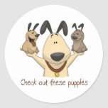 Check Out These Puppies Classic Round Sticker