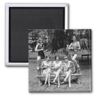 Check Out Those Ukuleles! - 1920s 2 Inch Square Magnet
