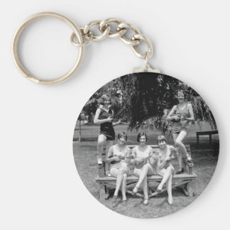 Check Out Those Ukuleles! - 1920s Basic Round Button Keychain