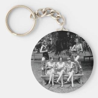 Check Out Those Ukuleles! - 1920s Basic Round Button Keychain