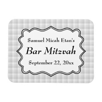 Check Pattern Bar Mitzvah Flexible Magnet