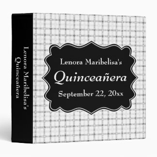 Check Pattern Black and White Quinceanera Binder