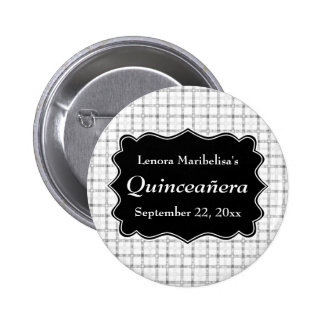 Check Pattern Black and White Quinceanera Buttons