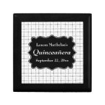 Check Pattern Black and White Quinceanera Gift Boxes