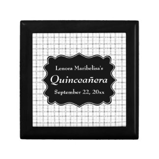 Check Pattern Black and White Quinceanera Jewelry Box